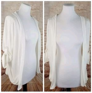 Romy L White 3/4 Sleeve Open-Front Thin Cardigan